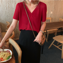 Thin See Through Summer Knitted Sweater Korean Fashion V-Neck 2019 Women Sweater and Pullovers V-Neck Cute Sweater 9473 недорого