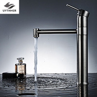 Uythner K Stype With Column Long Spout Bathroom Basin Faucet Mixer Tap Chrome Brushed Nickel Finish