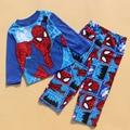 2016 Autumn Winter Children Pajamas Boys Spider-Man Pajamas 2 pcss Set Kids Fleece Clothing