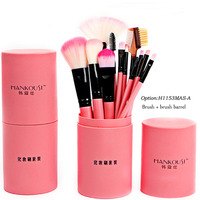 12 Pcs Makeup Brushes Kit Studio Holder Tube Convenient Portable Leather Cup Natural Hair Synthetic Duo