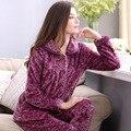 Новый супер горячая зима теплая MS фланелевые пижамы женщина Осень коралловый флис отдыха костюм Бесплатная доставка на дом