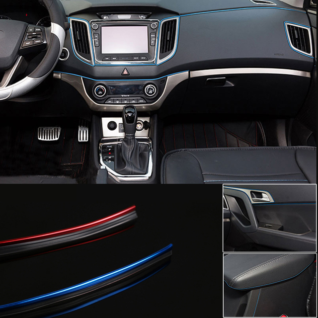 2 m auto interieur dashboard panel kloof flexibele decoratie moulding trim strip lijn diy auto