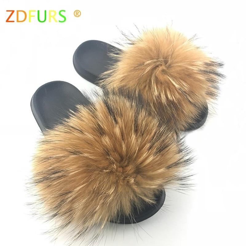 ZDFURS* 2019 Newest Women Real Raccoon Fur Slippers Causal Summer Slides Fox Hair Furry Flip Flops Shoes Scandals Indoor Outdoor