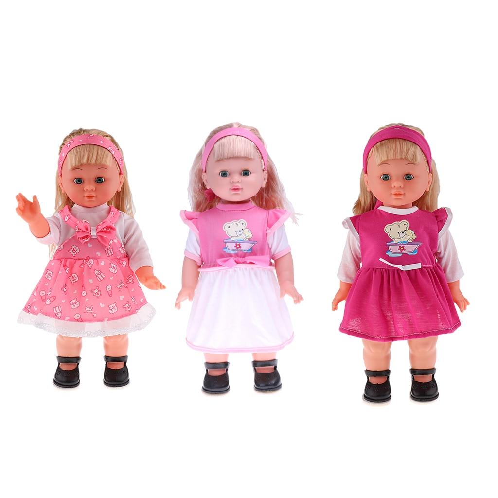 16 ''fait à la main réaliste vinyle bébé marche cligno chantant Reallike fausse fille poupée avec des vêtements chaussures chantant marche poupées enfants cadeau