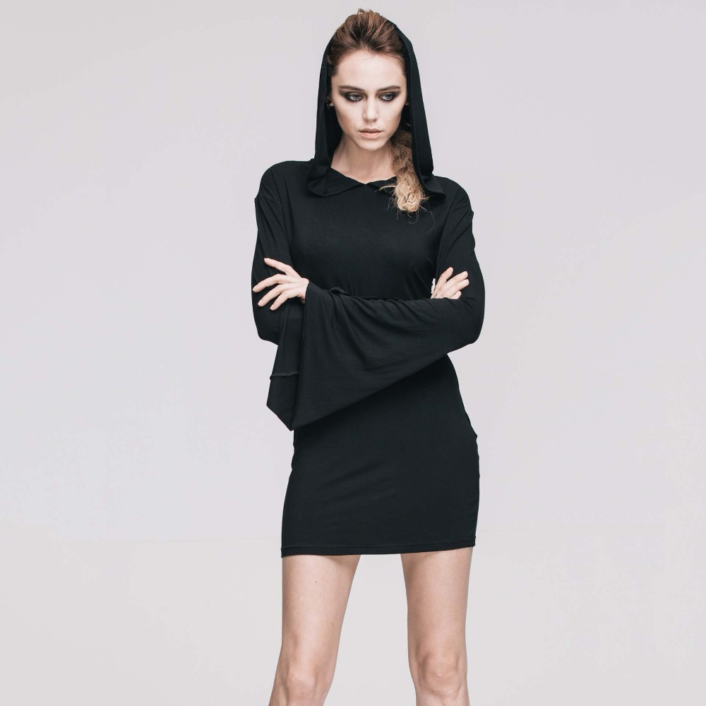 Gothique Sexy noir Flare manches à capuche robe Rock Punk nuit Club fête robes courtes rétro Vintage Streetwear femmes vêtements 2019