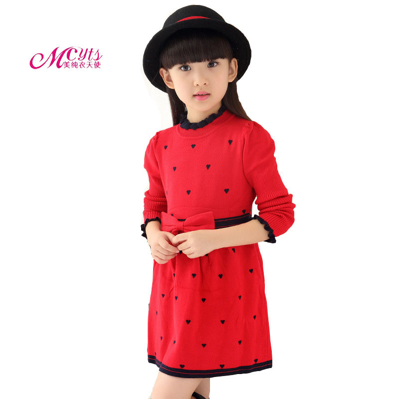 2017 Spring Autumn New Girls Knit Dress Cotton Lovely Sweet Long-Sleeved Fashion Princess Dress Girls Clothes 4 6 8 10 12 Years 2016 new fashion spring autumn girls dress children lovely long sleeved princess dress korean sweet leisure kids clothes dc093