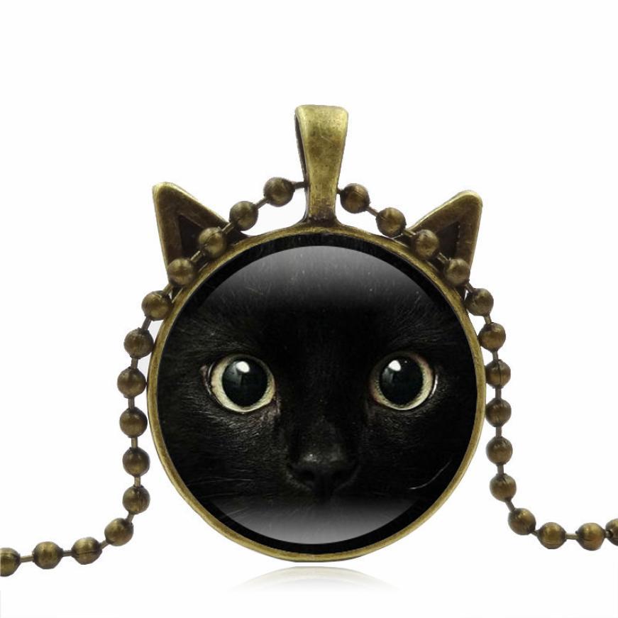 Photo Cabochon Verre Noir Chaîne Chat avec Oreilles Collier Pendentif ( Cat Eye )
