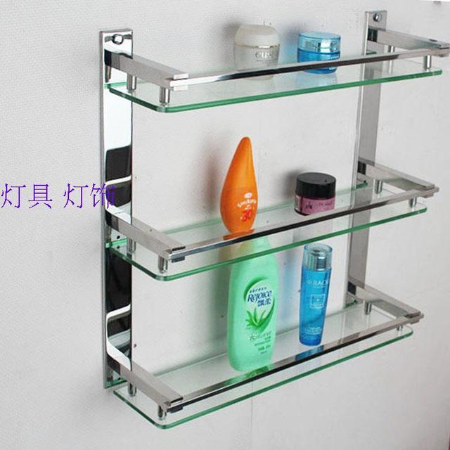 Creatieve ikea badkamer rekken glas plank 304 rvs frame badkamer ...