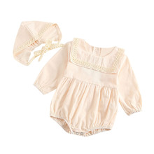 Infant Newborn Baby Girl Lace Romper Bodysuit Hat Outfits Set