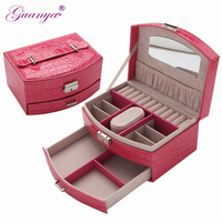 Yisoso High Grade Portable Sector Leather Jewelry Box Double Layers Jewellery Ring Earings Storage Box Carrying