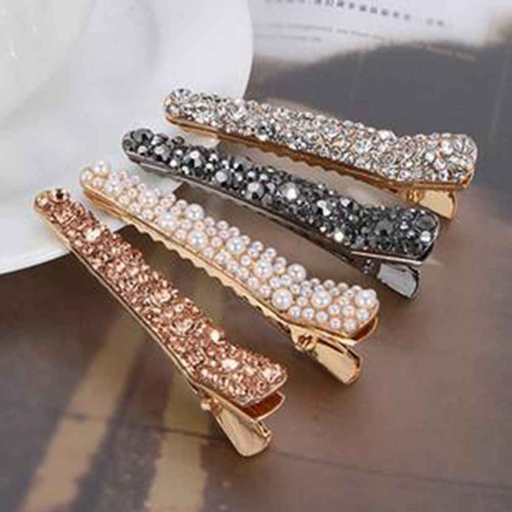 1Pcs Bling Crystal Hairpins Headwear for Women Girls Rhinestone Hair Clips Pins Barrette Styling Tools Accessories 3 Colors