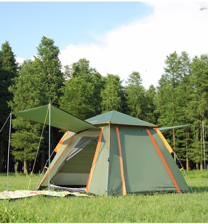 Volautomatische dubbele laag zwarte plastic gecoat zilver lijm verdikte zonnescherm regen 5 8 mensen outdoor camping picknick tent - 4
