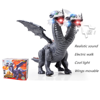 Children Learning Science Education Electric Dinosaur Model Toy Sounding Lighting Walking Simulation Two headed Pterosaur Gift