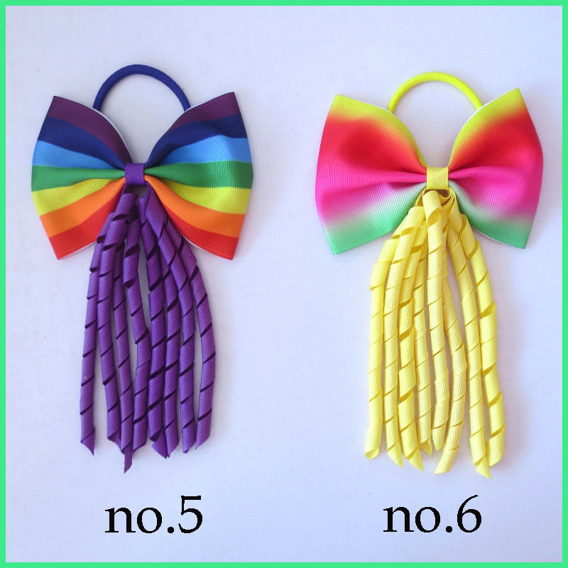 "50 Girl 5.5/"" Ring Flower Hair Bow Colorful Ponytail Elastic Corker Streamers"