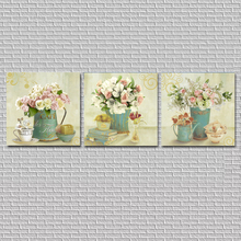 No Frame 3pcs Wall Painting Flower Home Decorative Pictures Canvas Paintings Cuadros For Living Room FY16