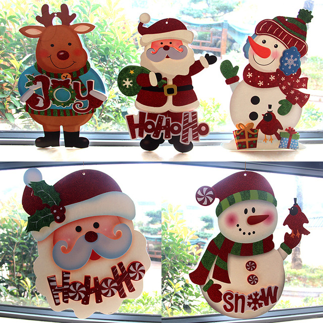 1pc new year christmas decorations for home electrostatic stickers decorate glass door window wall sticker drum - Window And Door Christmas Decorations
