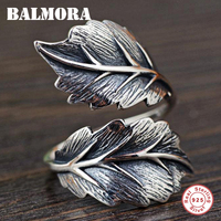 BALMORA 100 Real 925 Sterling Silver Jewelry Vintage Leaf Rings For Men Male High Quality Silver