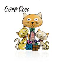 Cring Coco Vintage Cats Pins and Brooches for Women Dress Shirt Collar Accessories Luxury Brand Christmas Gift Lapel Pin Brooch