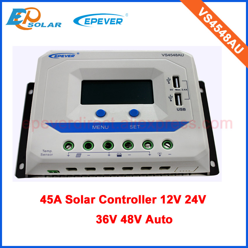 45A PWM EPEVER Solar power bank controller EPsolar 12V/24V/36V/48V auto type battery VS4548AU USB port built in 45amps pwm new viewstar series solar battery charge controller vs4548bn 45a 45amp epever epsolar 12v 24v 36v 48v auto work