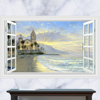 Vintage Seascape Poster 3D False Window Landscape Wall Sticker Tree Stickers Art Deco Furniture for Kids Baby Rooms Wallstickers