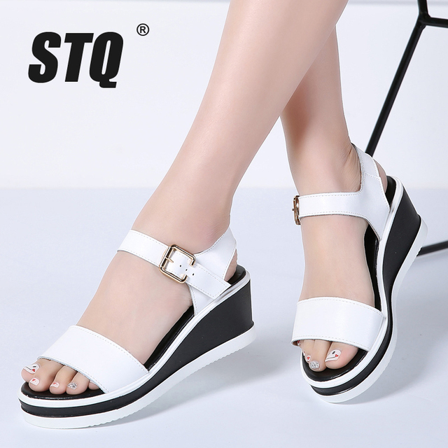 c27796733280 STQ 2018 Women sandals white flat wedge sandals Summer women Platform  Sandalias ladies thick heel sole gladiator sandals 1906