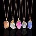 Venta caliente Plateada Oro de Piedra Natural en Bruto Amatista Collares Forma Irregular de Cristal Druzy Azul Colgante de Collar De Cuarzo para Las Mujeres