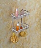 Contemporary Silver Aluminum Space Three Layers Basket Corner Storage Wall Mount Bathroom Accessories Bathroom Shelf