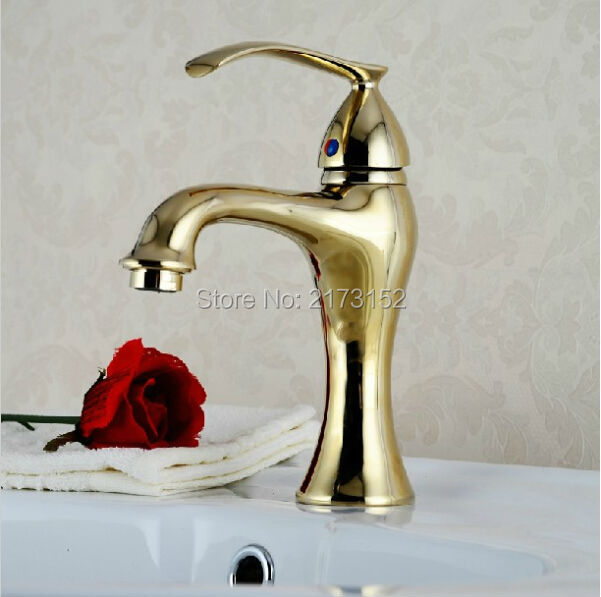 Royal Gold Plated Bathroom Faucet Luxury Single Hole Handle Hot Cold Basin Sink Mixer