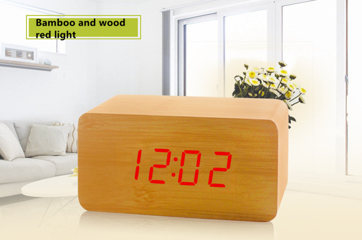 FiBiSonic Modern Design Wooden LED Digital Alarm Clock Desktop Multi-function Temperature Wood LED Digital Clock Cheap Clock