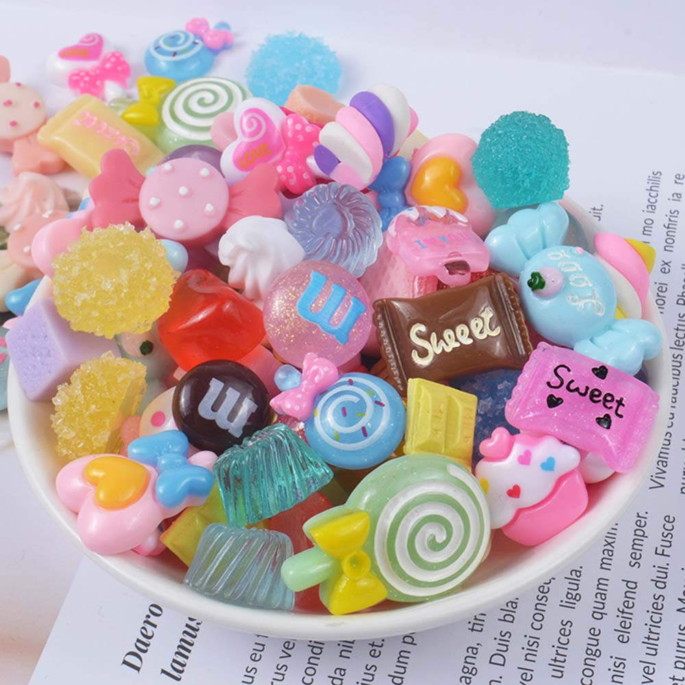 Slime charms 8pcs Cute Candy Charms For Slime Filler Cake Ornament Phone Decoration Charms Slime Supplies Toys 18