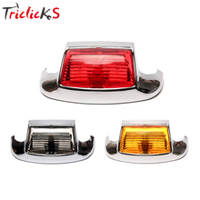 Triclicks Smoke Red Yellow Lens Motorcycle Front Fender Lights Tip LED Light Classic Mudguard Trim Driving For Harely New