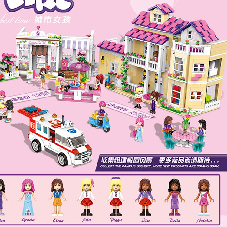 New 673Pcs Girl Series The University Dormitory Set Building Blocks Bricks Toys