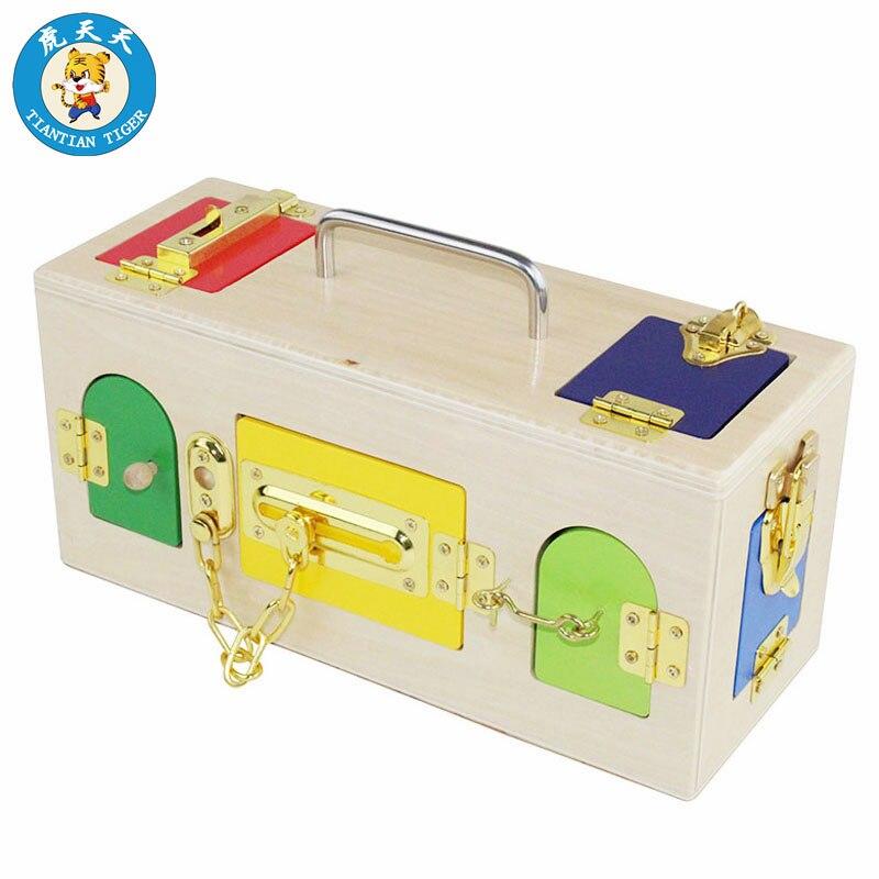 Bébé Montessori Sensorielle Jouets Enfants Éducation Précoce Jouets En Bois Préscolaire Serrure Boîte