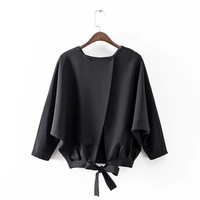 Summer feminine Blouses Black Solid Back Open Bows Sexy Female Blouse Casual Long Sleeve Womens Tops and Blouses Shirt Women