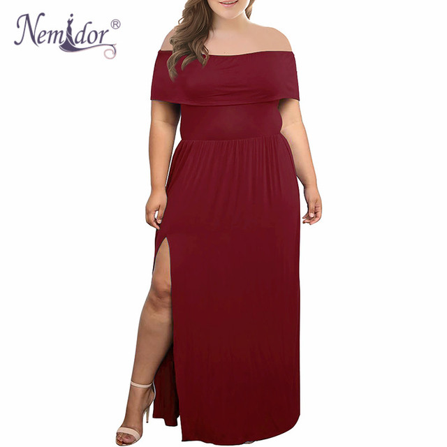 Nemidor 2018 New Arrival Women Sexy Off The Shoulder Party Split Long Dress Vintage Slash Neck Plus Size 7XL 8XL 9XL Maxi Dress