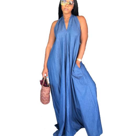 PLUS SIZE Denim Dress Women Long Jeans Dress Casual Loose Summer Backless  Sleeveless Halter Maxi Dress Vestidos Verano RQ575-in Dresses from Women\'s  ...
