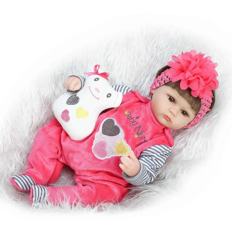 ФОТО Silicone Soft Realistic Reborn Baby Doll 17 Inch Lifelike Girl Newborn Babies Cloth Body Toy Kids Birthday Xmas Gift
