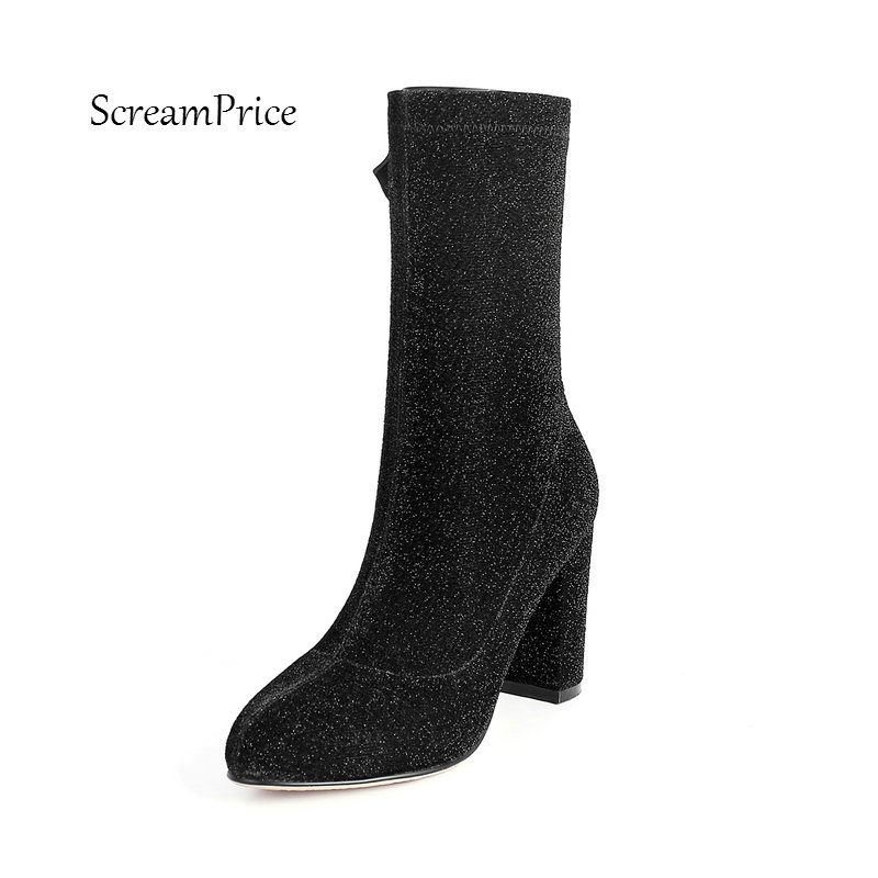 Women Side Zipper Thick High Heel Mid Calf Boots Fashion Pointed Toe Sequins Spring Stretch Boots Silver Black bling stars printing pvc transparent crystal heels mid calf boots for women pointed toe back zipper thick high heel summer boots