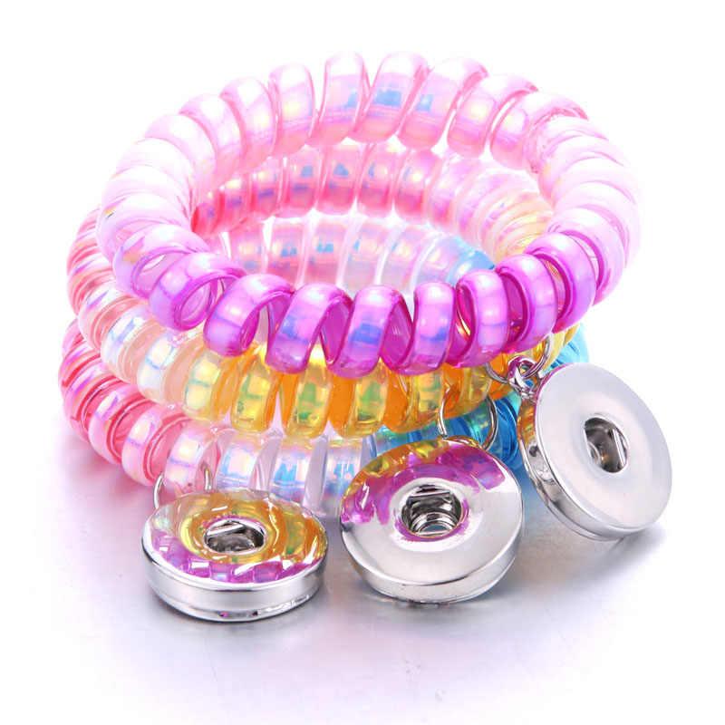 חדש 18mm הצמד כפתור צמיד שרף אקראי צבע גמישות הצמד צמידי שעונים נשים גברים Fit 18mm הצמד תכשיטים 2901