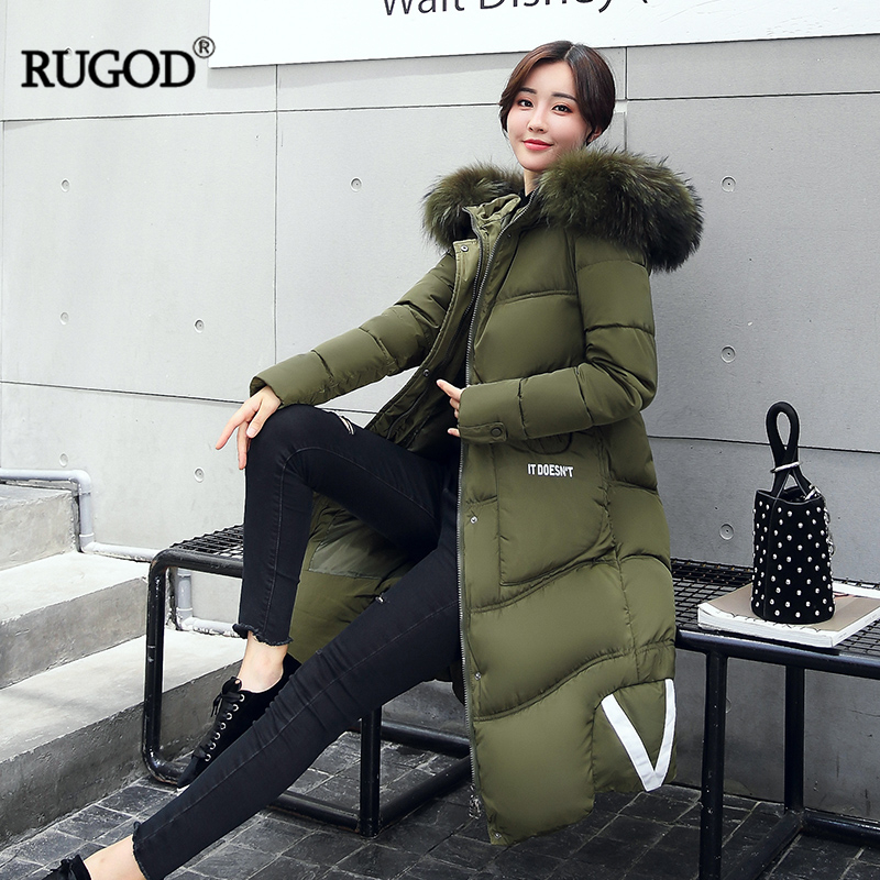 RUGOD 2018 Autumn Winter Latest Version Solid Printed Letter   Down     Coat   Women Keep Warm Thicken Slim Long Sleeve Female   Coats