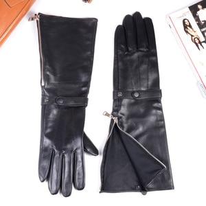 Image 4 - 40cm Mens Black Sheepskin Real Leather Medieval Renaissance Long Cuff  Zipper Knight Gauntlet Elbow Long Gloves