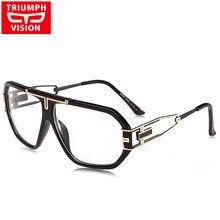8155926e8046d TRIUMPH VISÃO 2018 Vidros do Olho Óptico óculos Sem Grau Grande Quadro  Quadrado Masculino Design de Moda Lente Clara Óculos Espe.