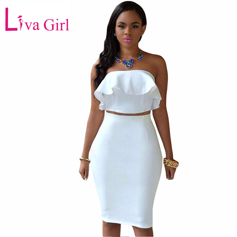 LIVA GIRL Sexy Club Blanc Midi Robe Femmes Printemps De L'épaule Deux Pièces Ensembles Ruffles Crop Top Party Crayon Robes Costume Costume Robe