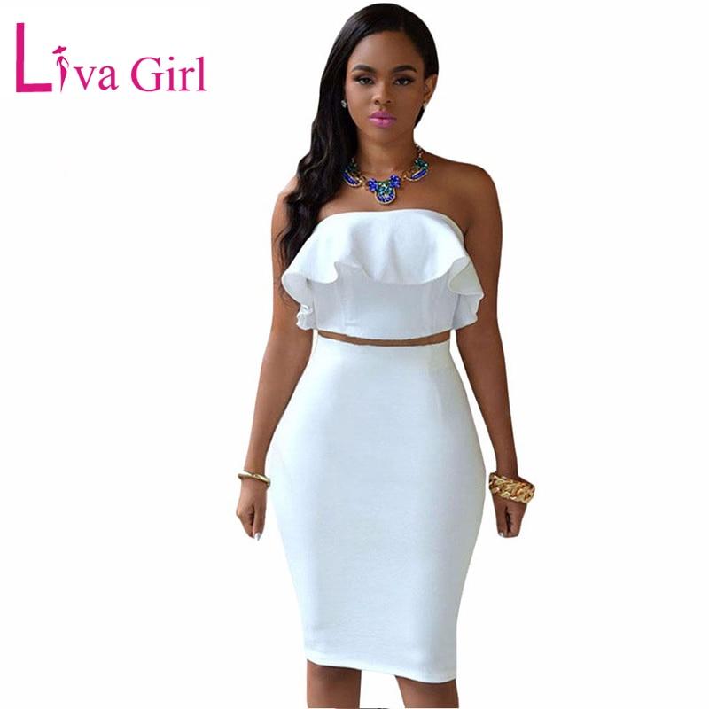 LIVA GIRL Sexy White Club Midi Dress Women Spring Off Shoulder Two Piece Sets Ruffles Crop Top Party Pencil Dresses Suit Vestido