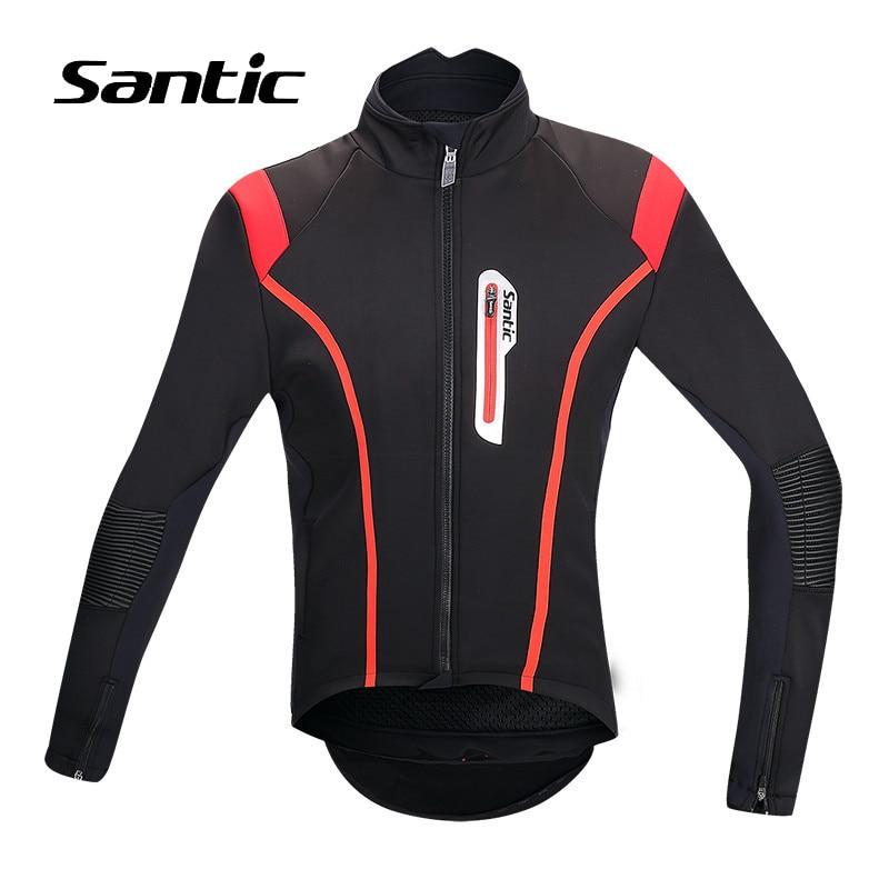 Santic 0-8 Degrés Hiver En Laine Polaire Thermale Vélo Veste Hommes Professionnel Coupe-Vent Route Montagne Vélo Veste Vélo Vêtements S /M