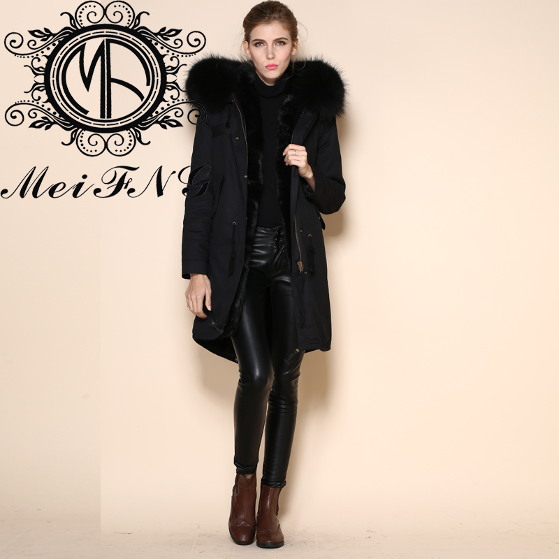 Long jackets black parka women plain dyed with raccoon dog furs trim hooded casual and fashion style black faux fur jacket