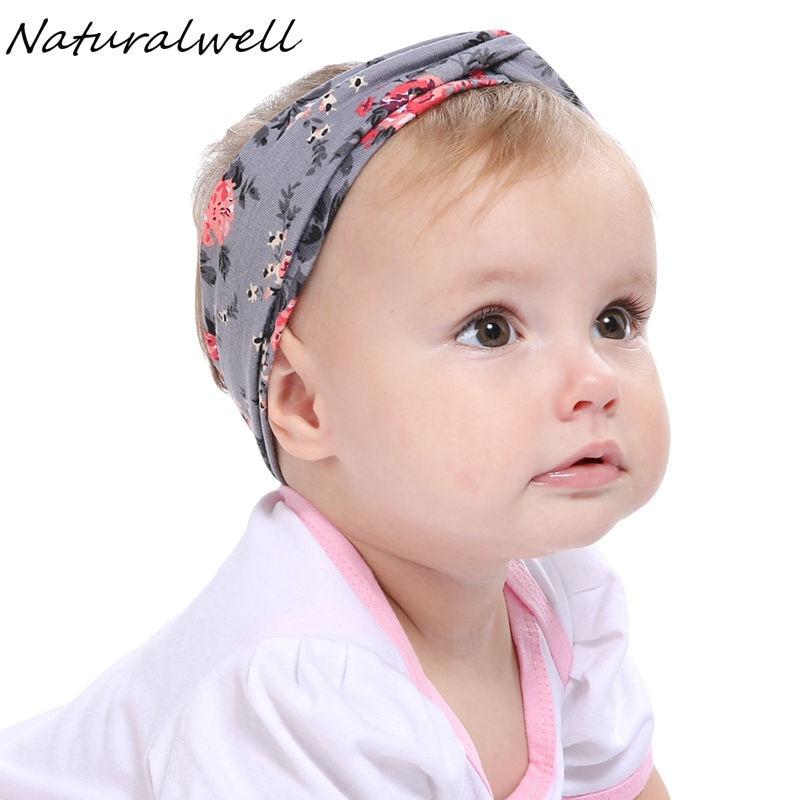 Naturalwell Baby top knot bow head wrap Knit headband Children turban Fabric cotton headbands Baby shower gift Bandage HB507D