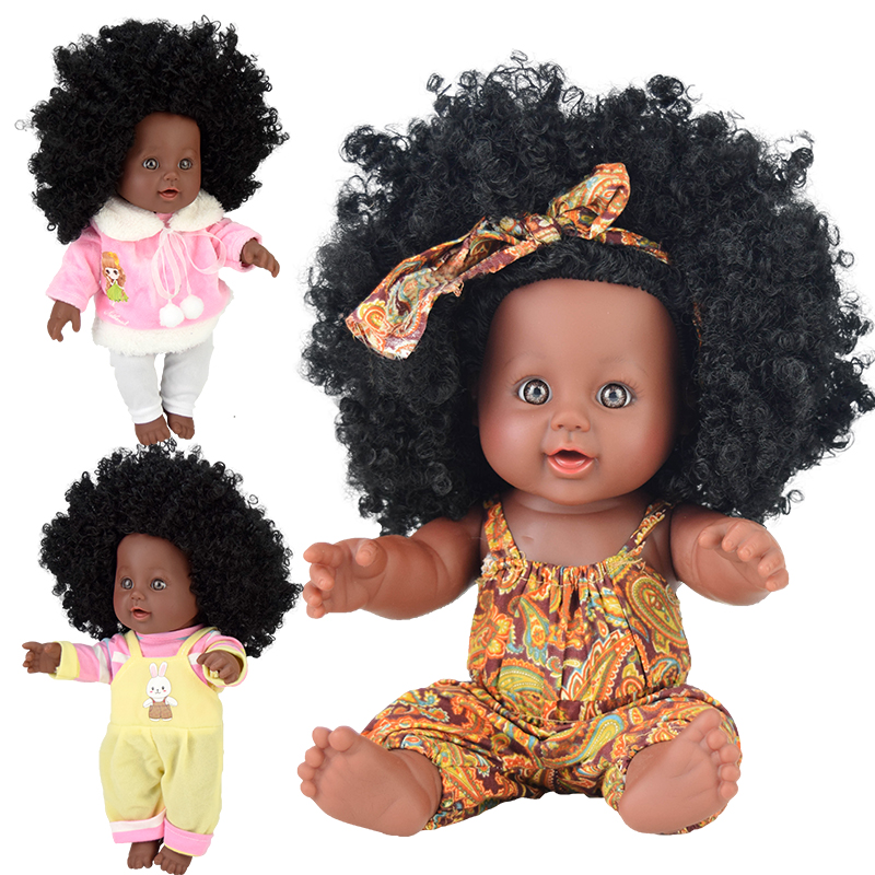 Cabelo longo eua 30cm 12 polegada preto banhando bonecas do bebê silicone vinil reborn pop boneca bebê brinquedos macios brinquedo menina criança nathniel banho