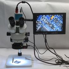 Best price Trinocular Stereo Microscope 3.5X-90X Continuous Zoom Magnification 14MP HDMI Industrial Camera LED Light Source 10-inch Monitor