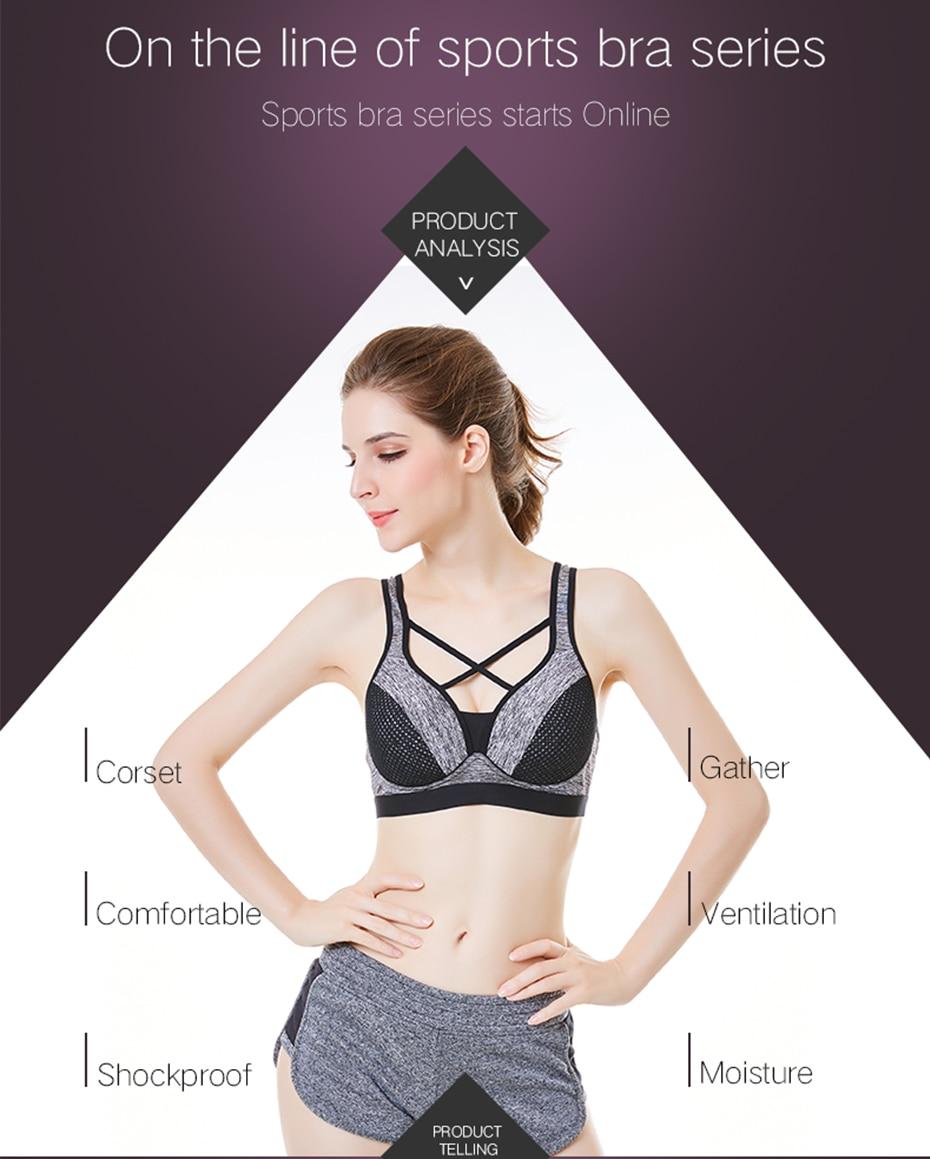 42851ba513489 THUNSHION Sexy Cross Strappy Backless Sports Bra Fitness Women Bra Yoga  Mesh Crop Top Bra Patchwork Daily Wear Top Underwear. 7341 01 7341 02 ...